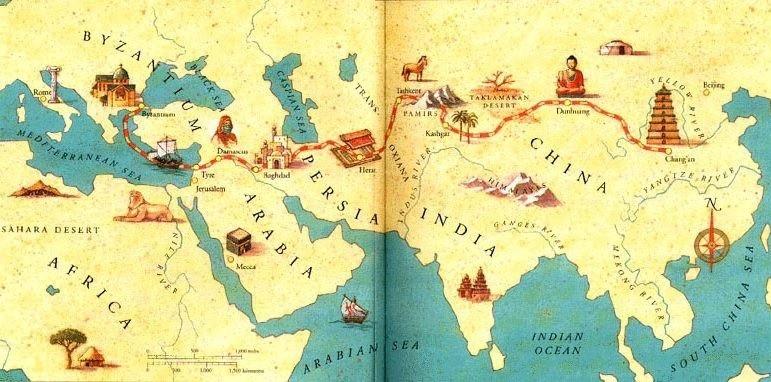 Karte Altchinesische Seidenstraße