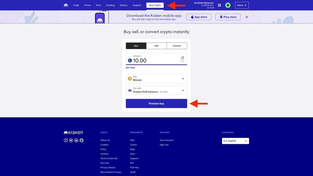 Screenshot Kraken Bitcoin Kaufen mit Euro