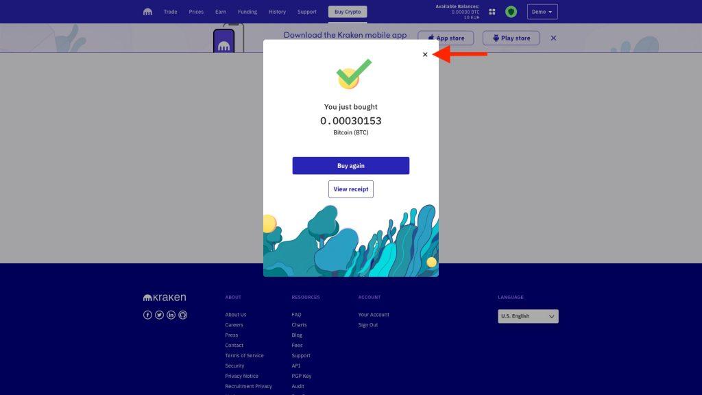 Screenshot Kraken erfolgreicher Bitcoin Kauf
