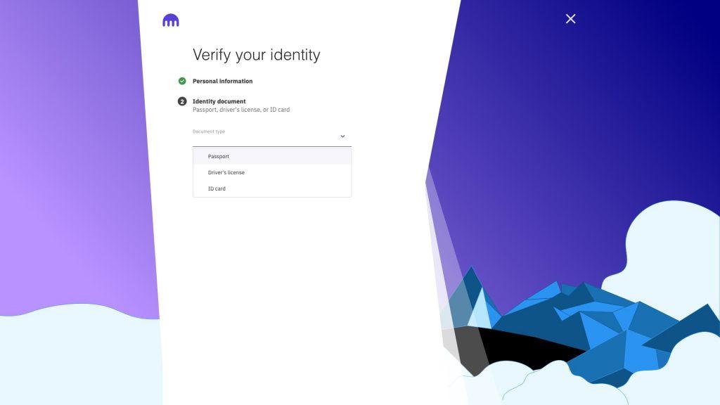 Screenshot Kraken Auswahl Dokumententyp für Identitätsnachweis